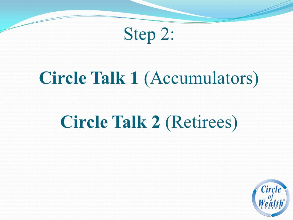 Step 2: Circle Talk 1 (Accumulators) Circle Talk 2 (Retirees)
