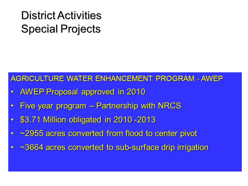 District Activities Special Projects