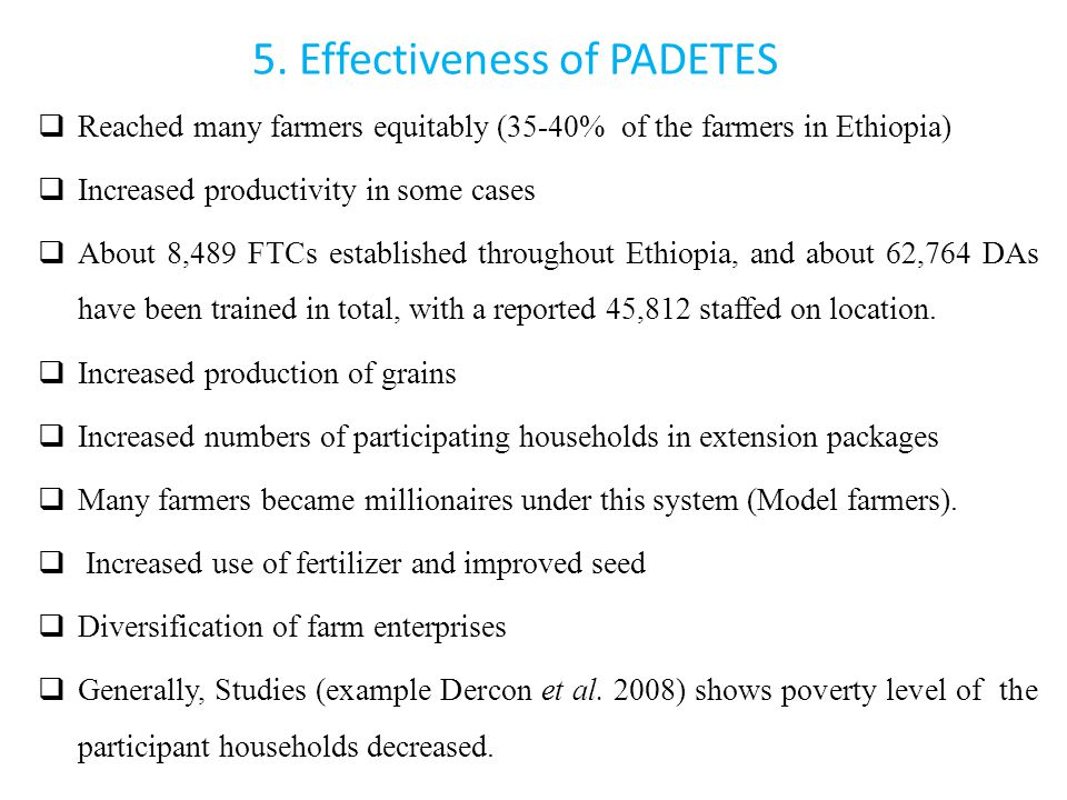 5. Effectiveness of PADETES