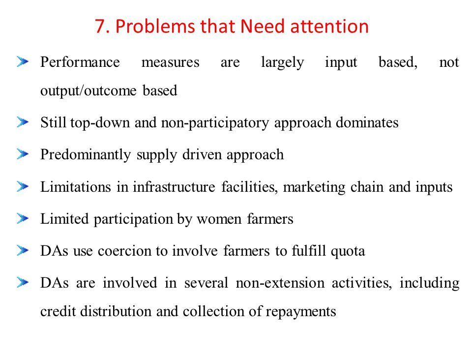 7. Problems that Need attention