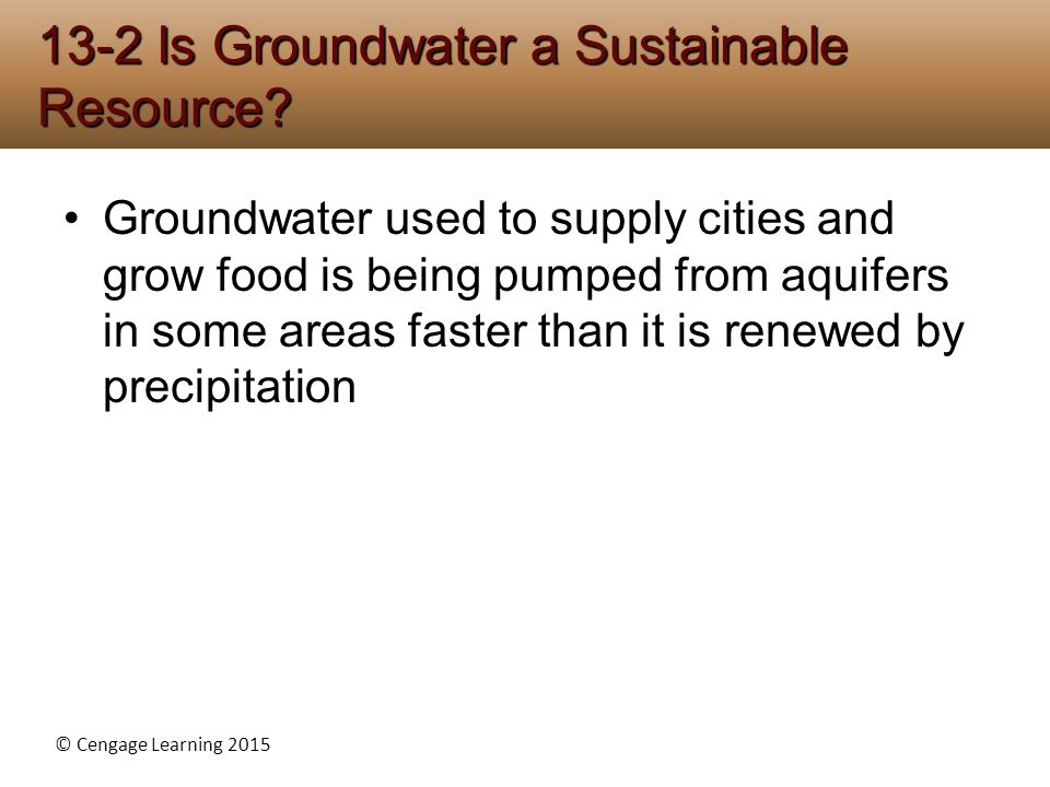 13-2 Is Groundwater a Sustainable Resource