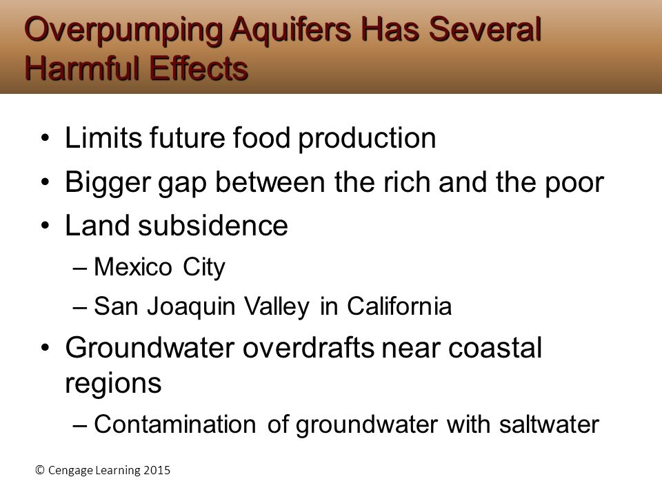 Overpumping Aquifers Has Several Harmful Effects