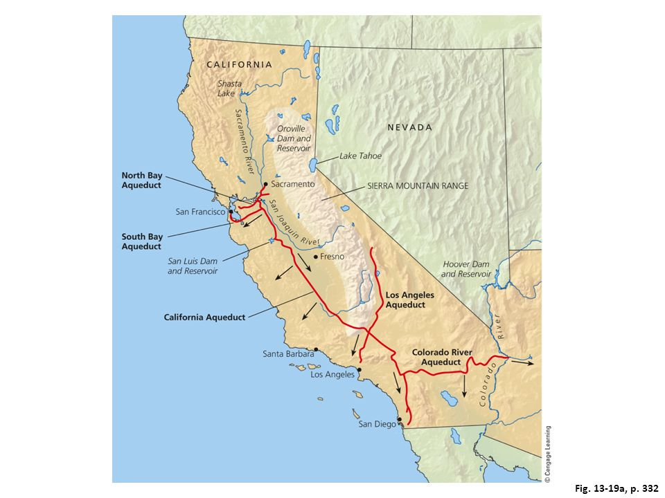 Figure 13.19 The California State Water Project transfers huge volumes of freshwater from one watershed to another. The arrows on the map show the general direction of water flow. The photo shows one of the aqueducts carrying water within the system. Questions: What effects might this system have on the areas from which the water is taken