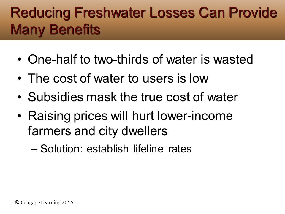 Reducing Freshwater Losses Can Provide Many Benefits