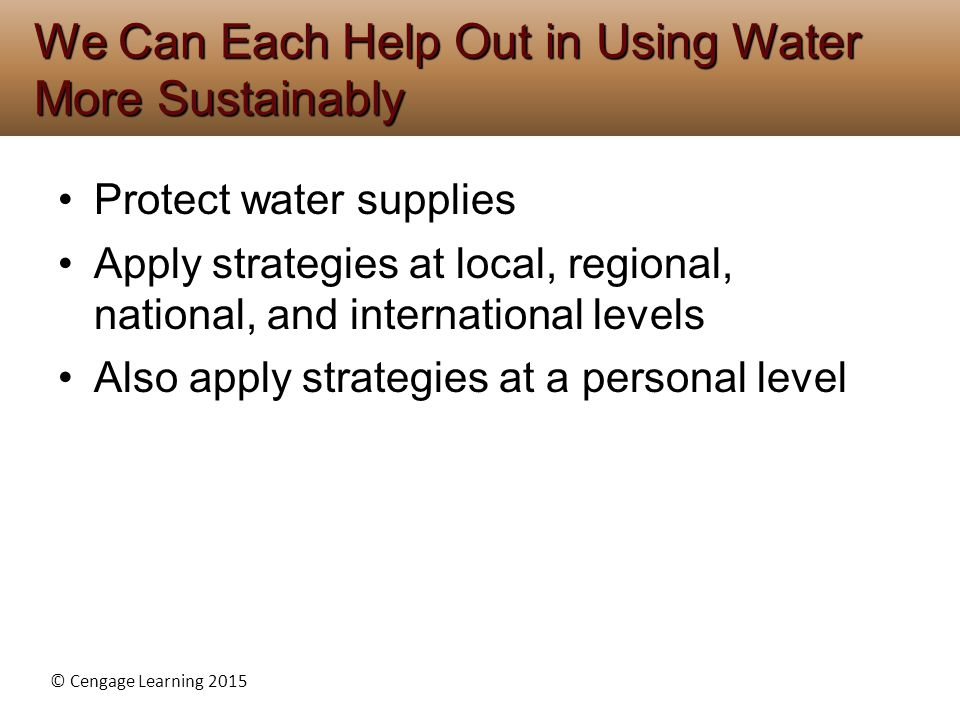 We Can Each Help Out in Using Water More Sustainably