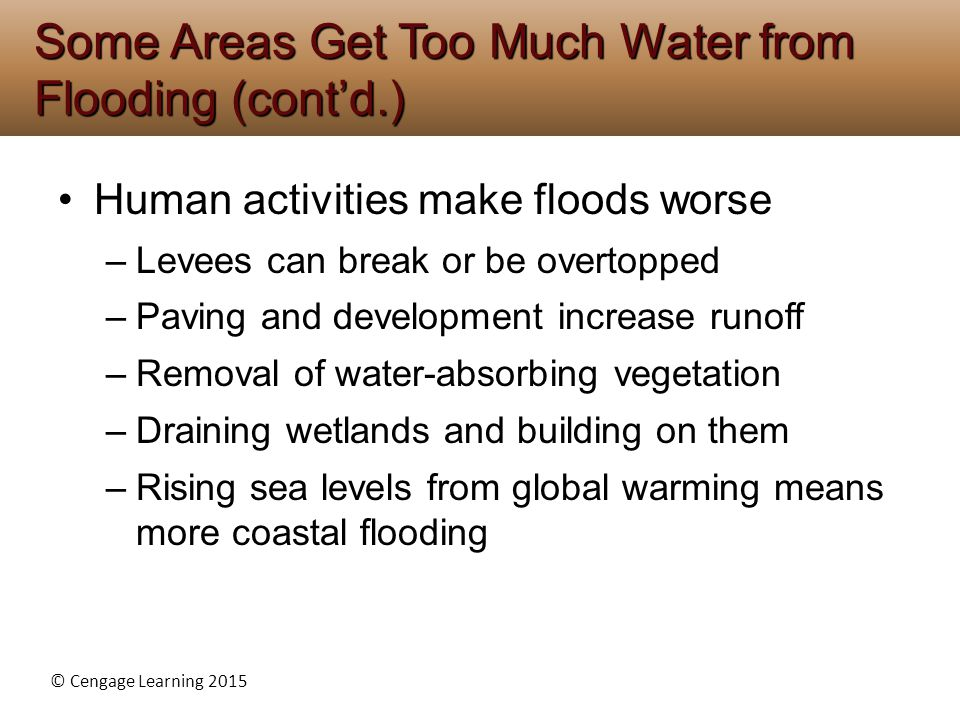 Some Areas Get Too Much Water from Flooding (cont'd.)