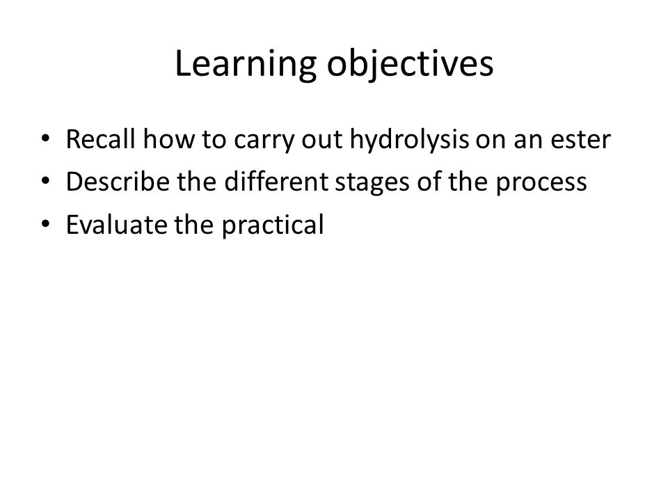Learning objectives Recall how to carry out hydrolysis on an ester