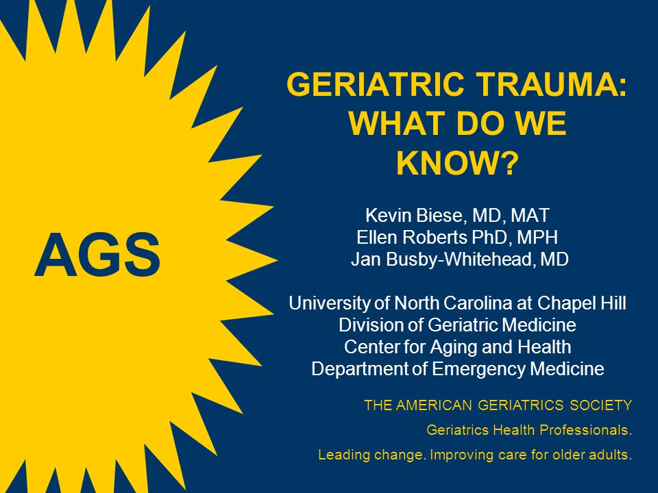 GERIATRIC TRAUMA: WHAT DO WE KNOW