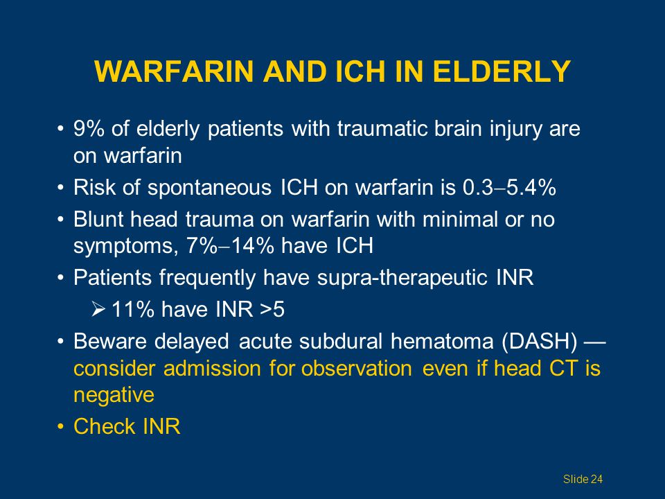 Warfarin and ICH IN ELDERLY