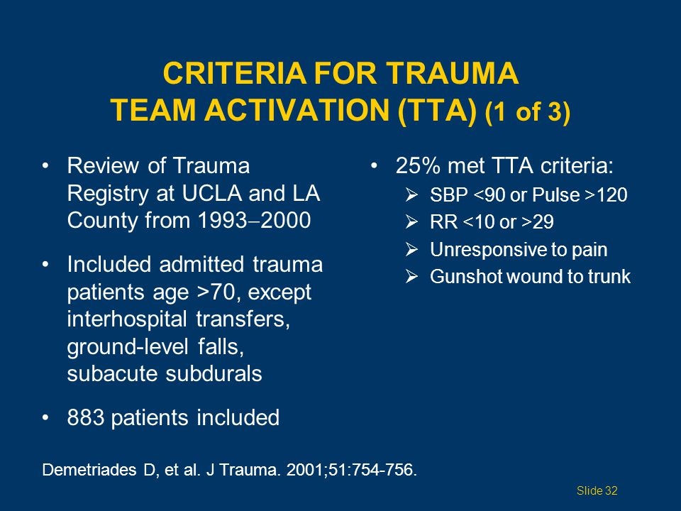 CRITERIA for Trauma Team Activation (TTA) (1 of 3)