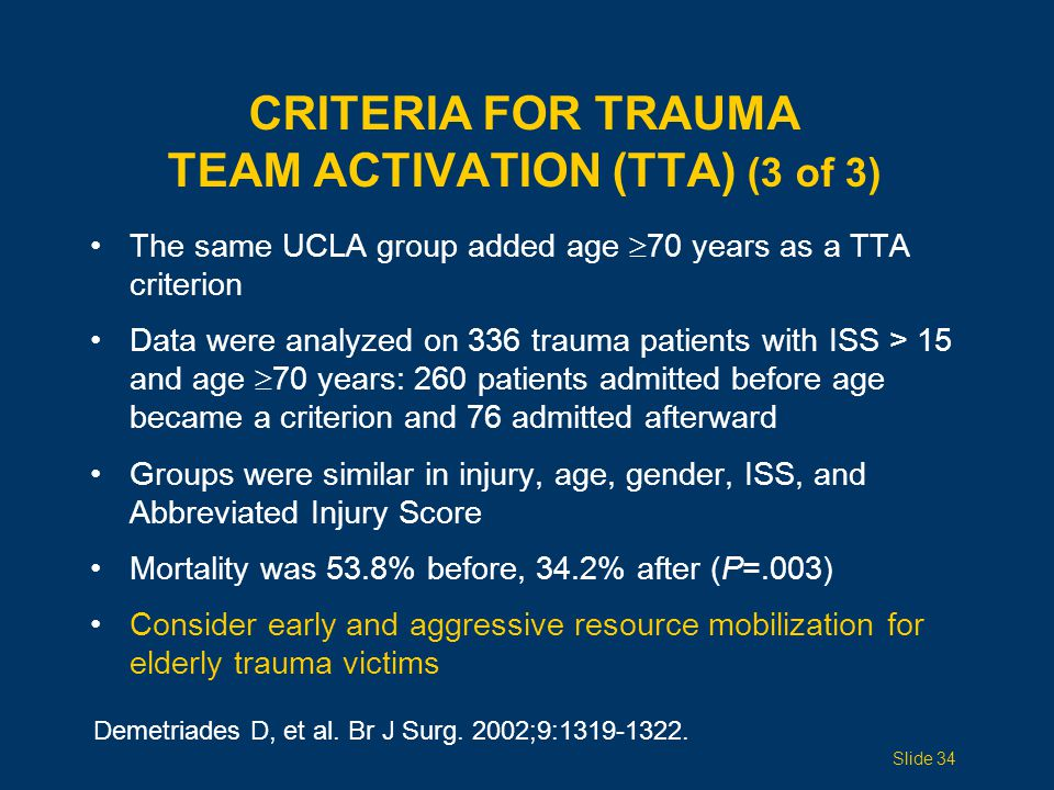 CRITERIA for Trauma Team Activation (TTA) (3 of 3)