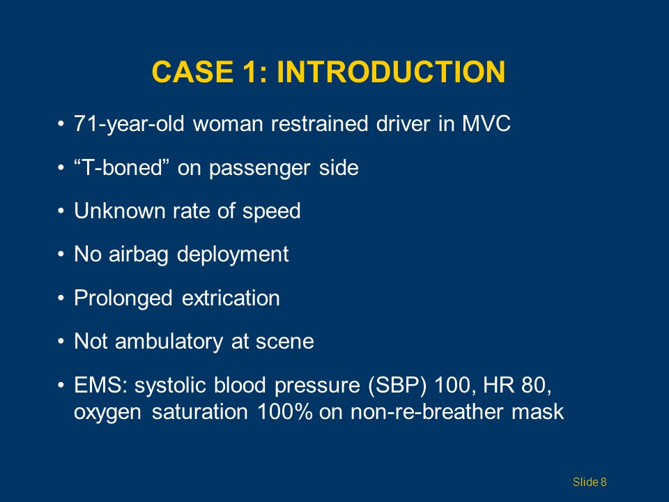 Case 1: INTRODUCTION 71-year-old woman restrained driver in MVC