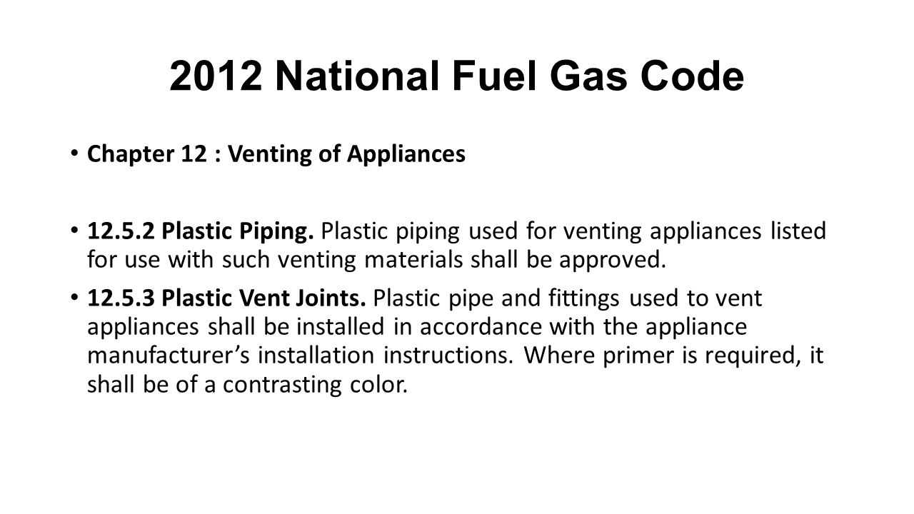 2012 National Fuel Gas Code Chapter 12 : Venting of Appliances