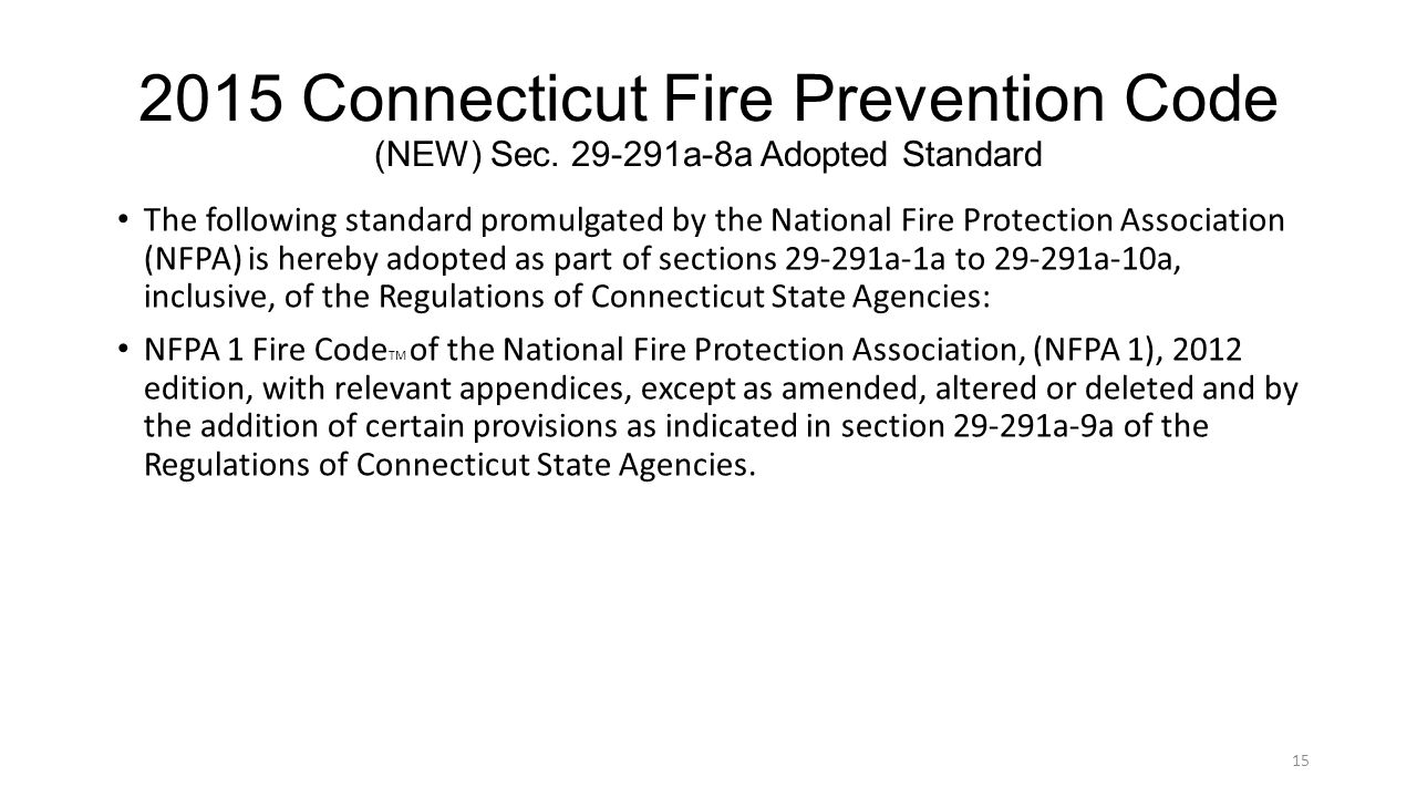 2015 Connecticut Fire Prevention Code (NEW) Sec