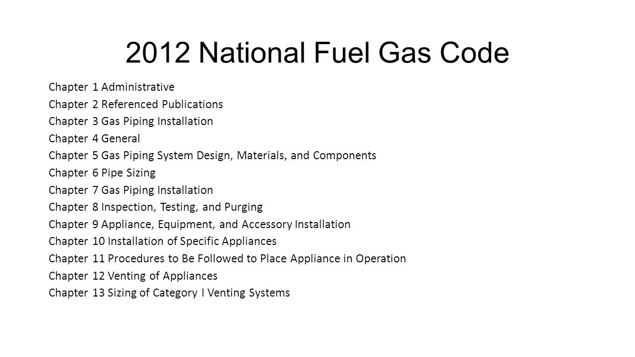 2012 National Fuel Gas Code Chapter 1 Administrative. Chapter 2 Referenced Publications. Chapter 3 Gas Piping Installation.