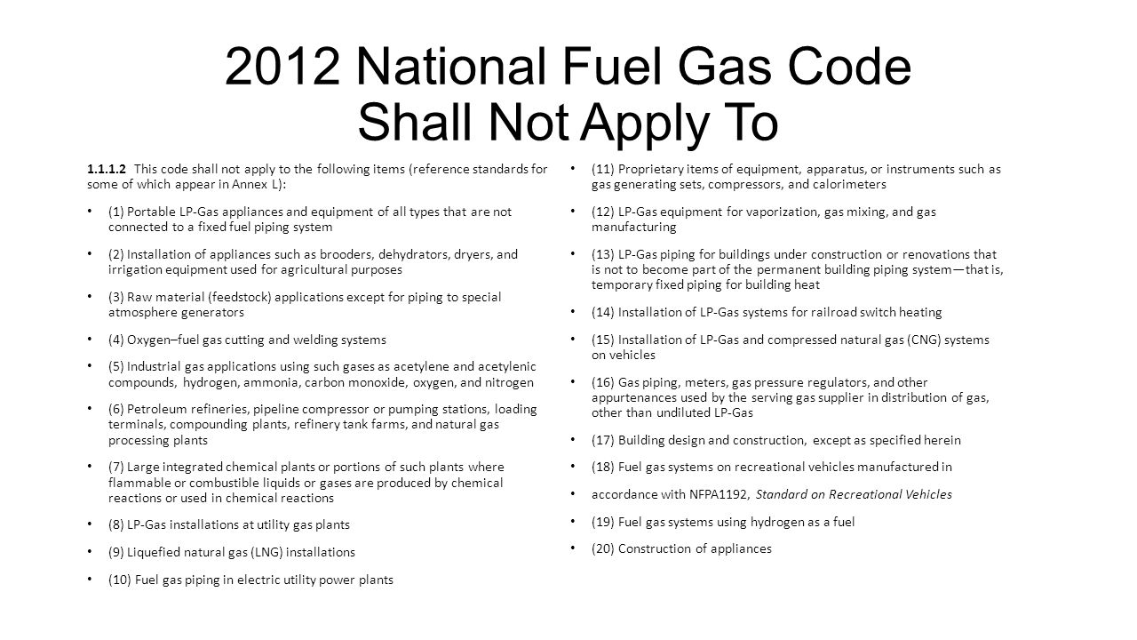 2012 National Fuel Gas Code Shall Not Apply To