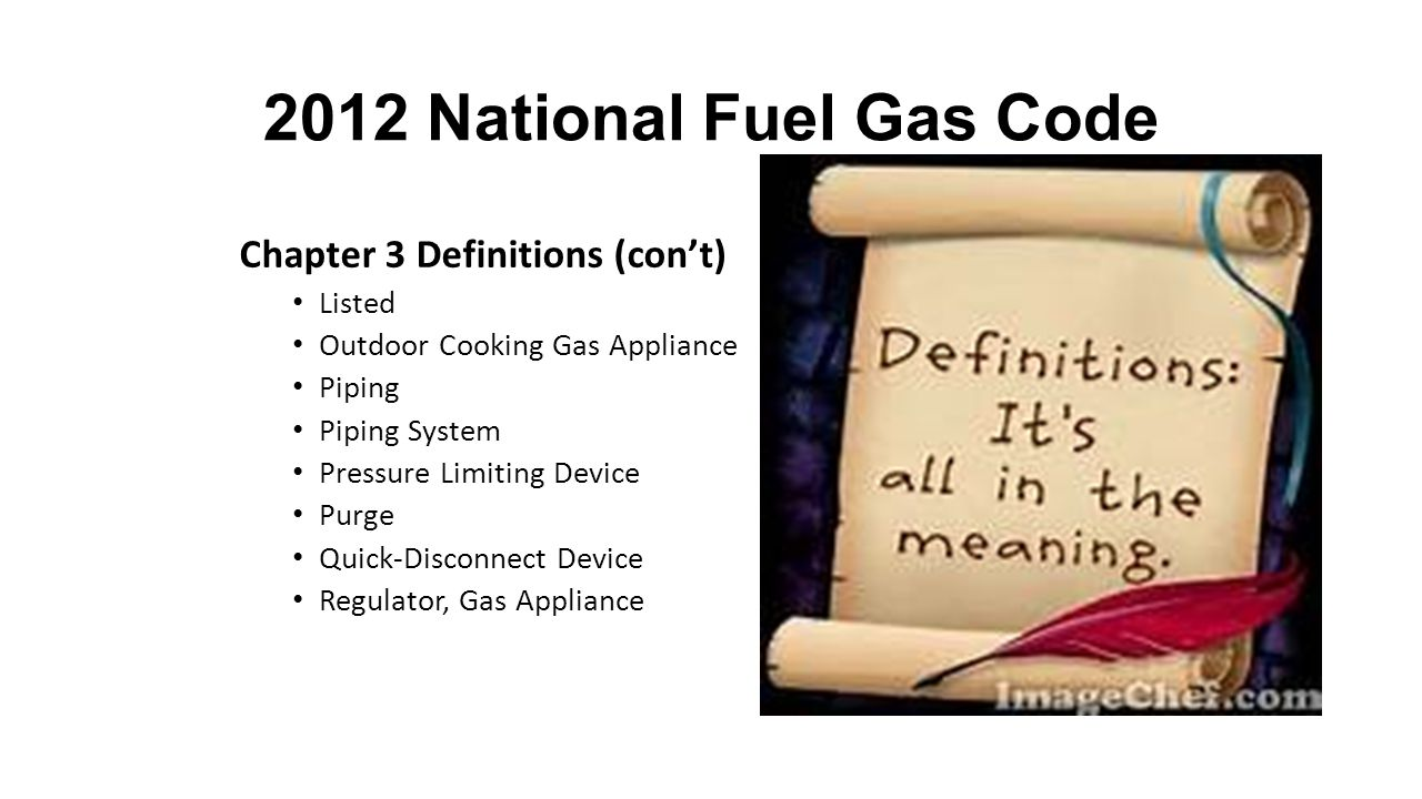 2012 National Fuel Gas Code Chapter 3 Definitions (con't) Section 1.7