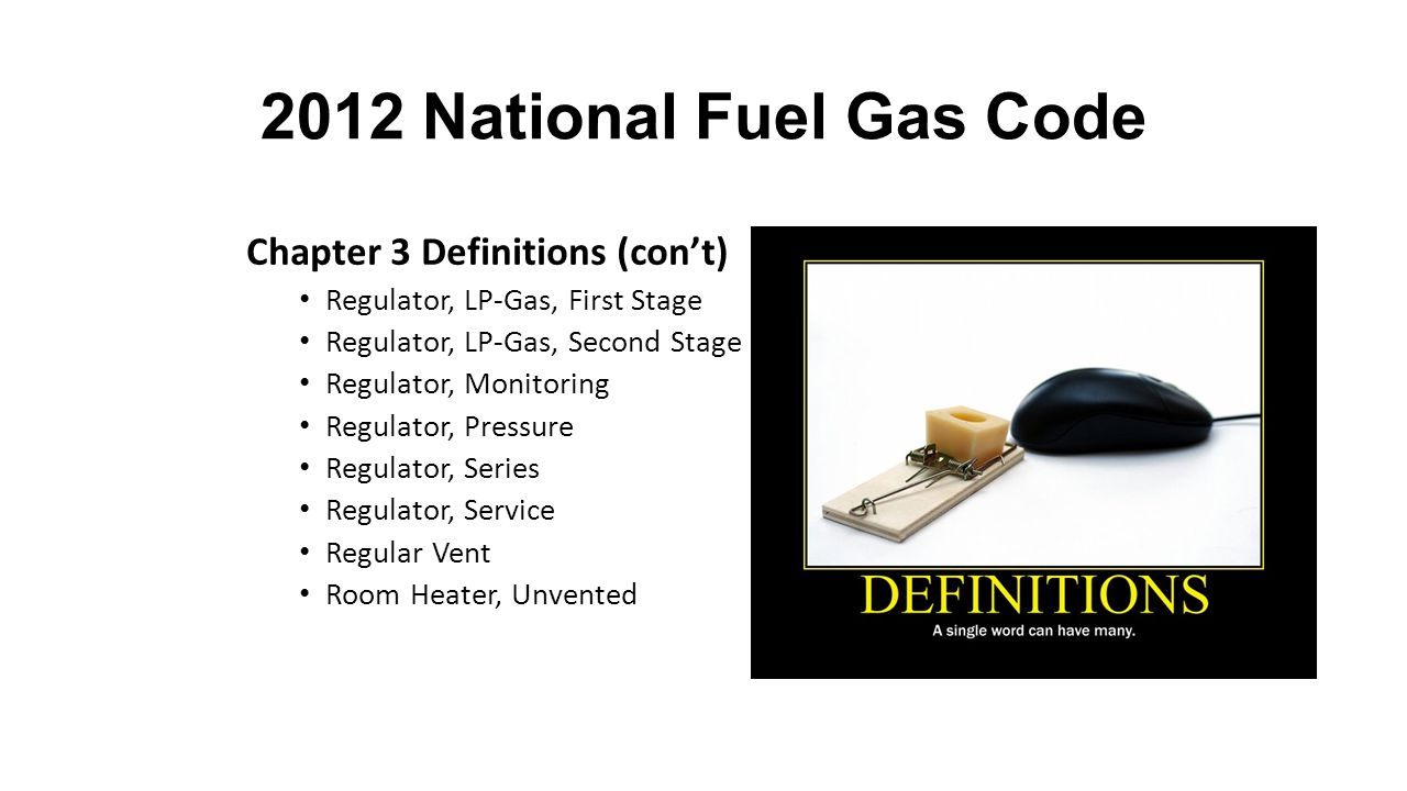 2012 National Fuel Gas Code Chapter 3 Definitions (con't) Section1.7