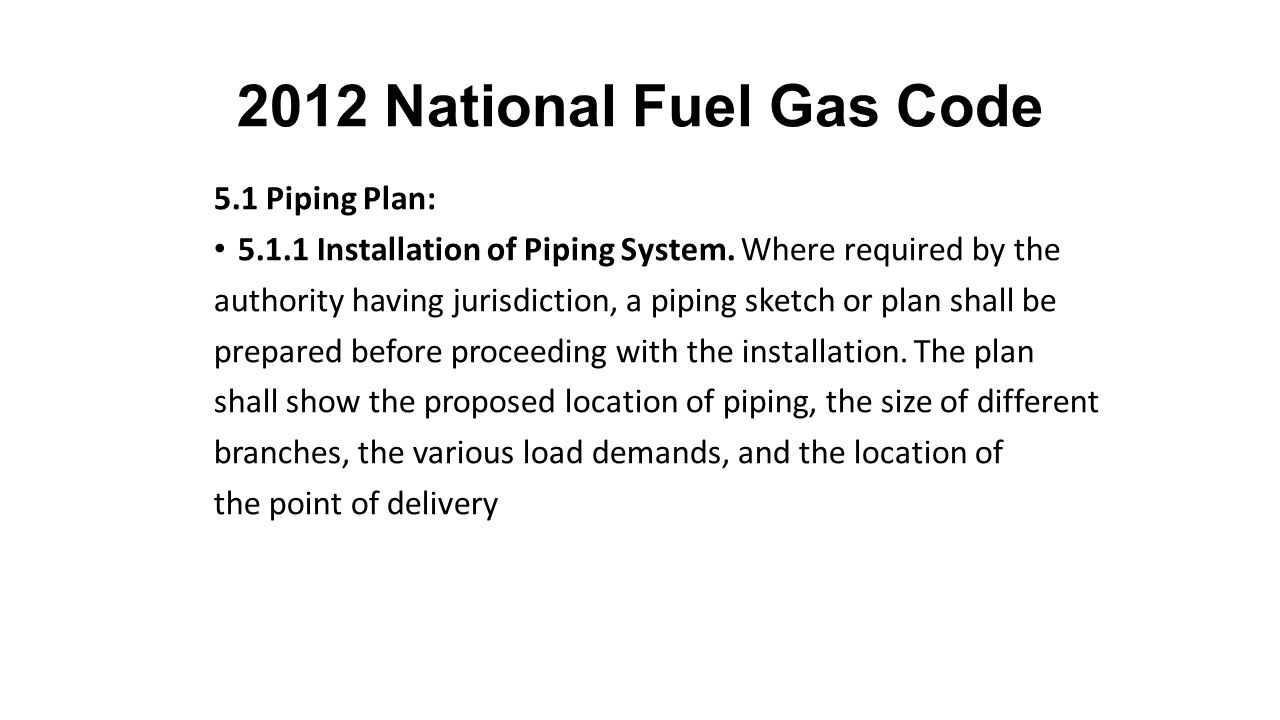 2012 National Fuel Gas Code 5.1 Piping Plan: