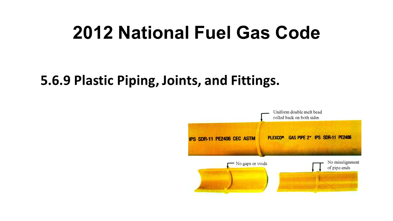 2012 National Fuel Gas Code 5.6.9 Plastic Piping, Joints, and Fittings.