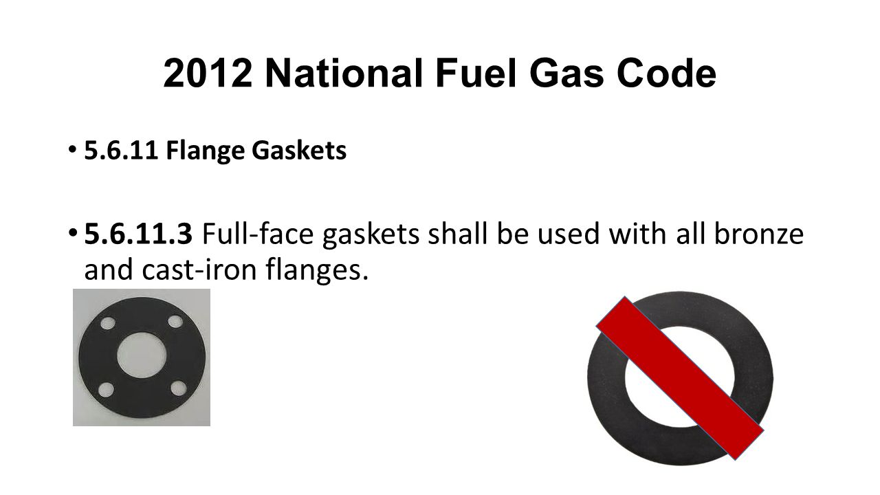 2012 National Fuel Gas Code 5.6.11 Flange Gaskets.