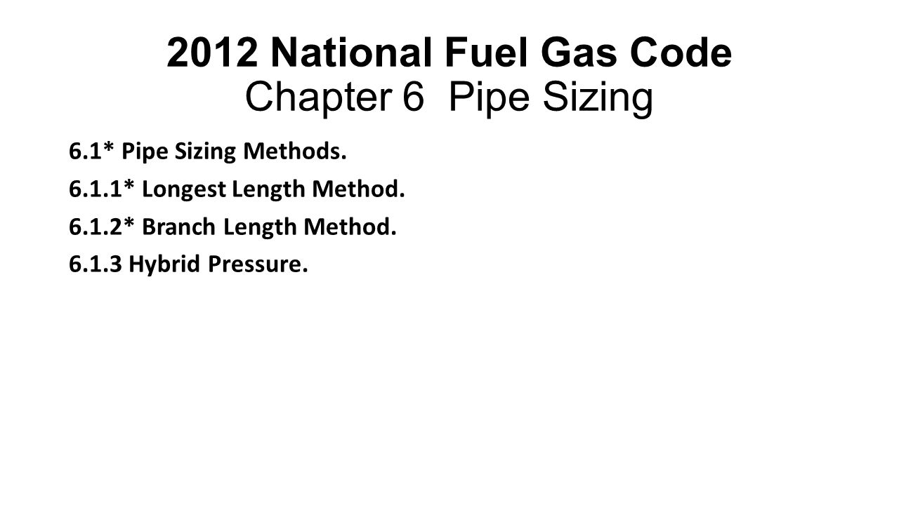 2012 National Fuel Gas Code Chapter 6 Pipe Sizing