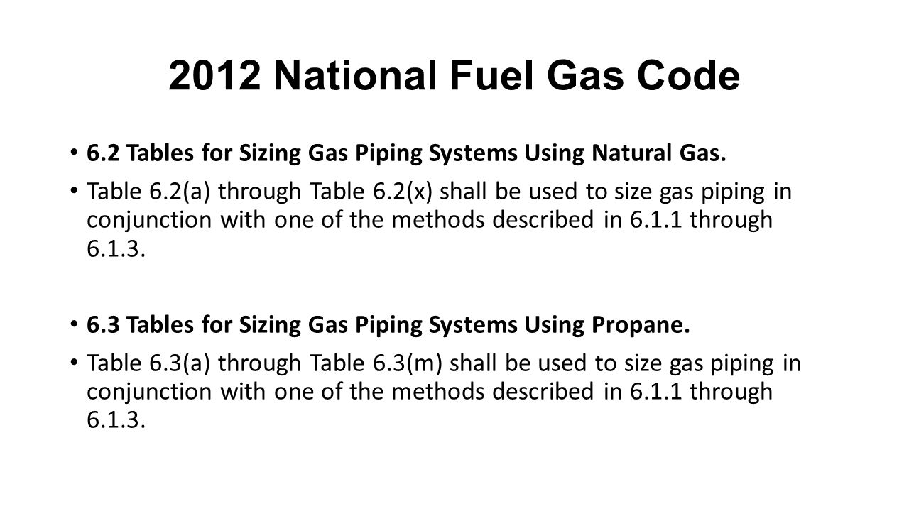2012 National Fuel Gas Code 6.2 Tables for Sizing Gas Piping Systems Using Natural Gas.