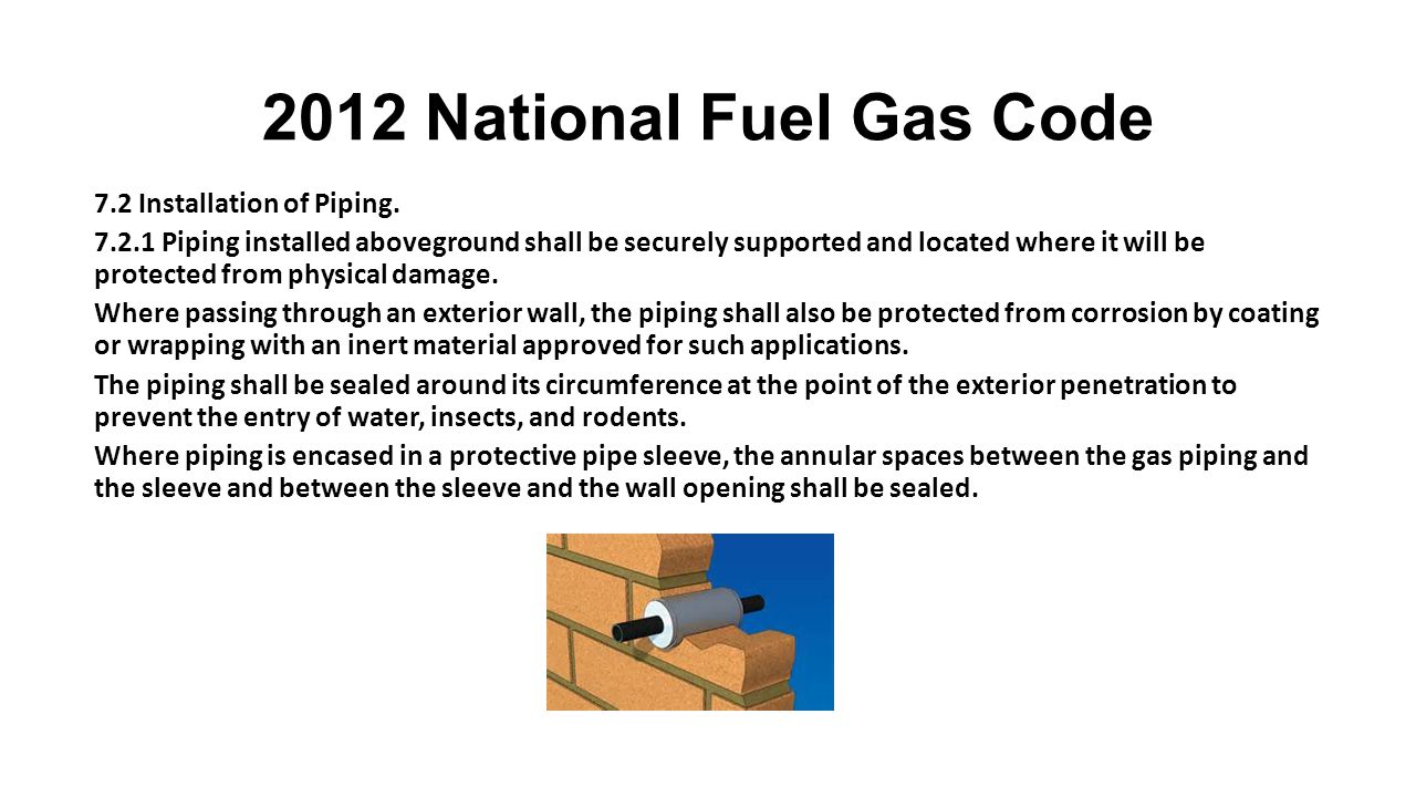2012 National Fuel Gas Code Section 3.2 7.2 Installation of Piping.
