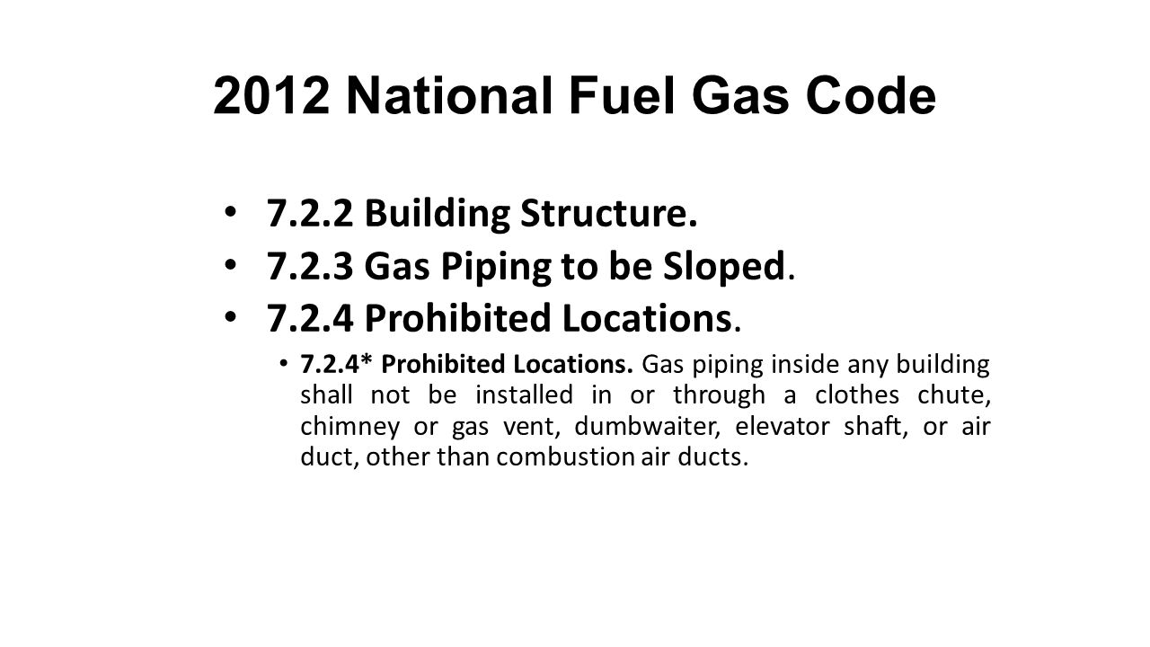 2012 National Fuel Gas Code 7.2.2 Building Structure.