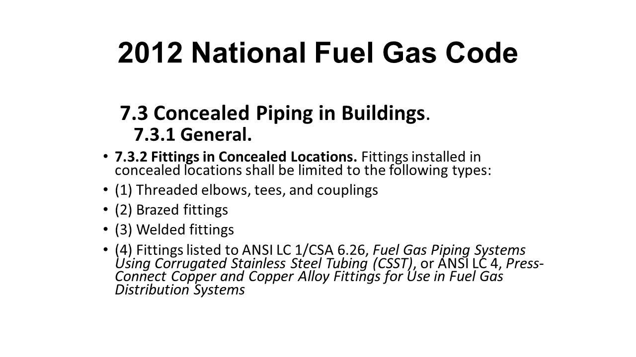 2012 National Fuel Gas Code 7.3 Concealed Piping in Buildings.