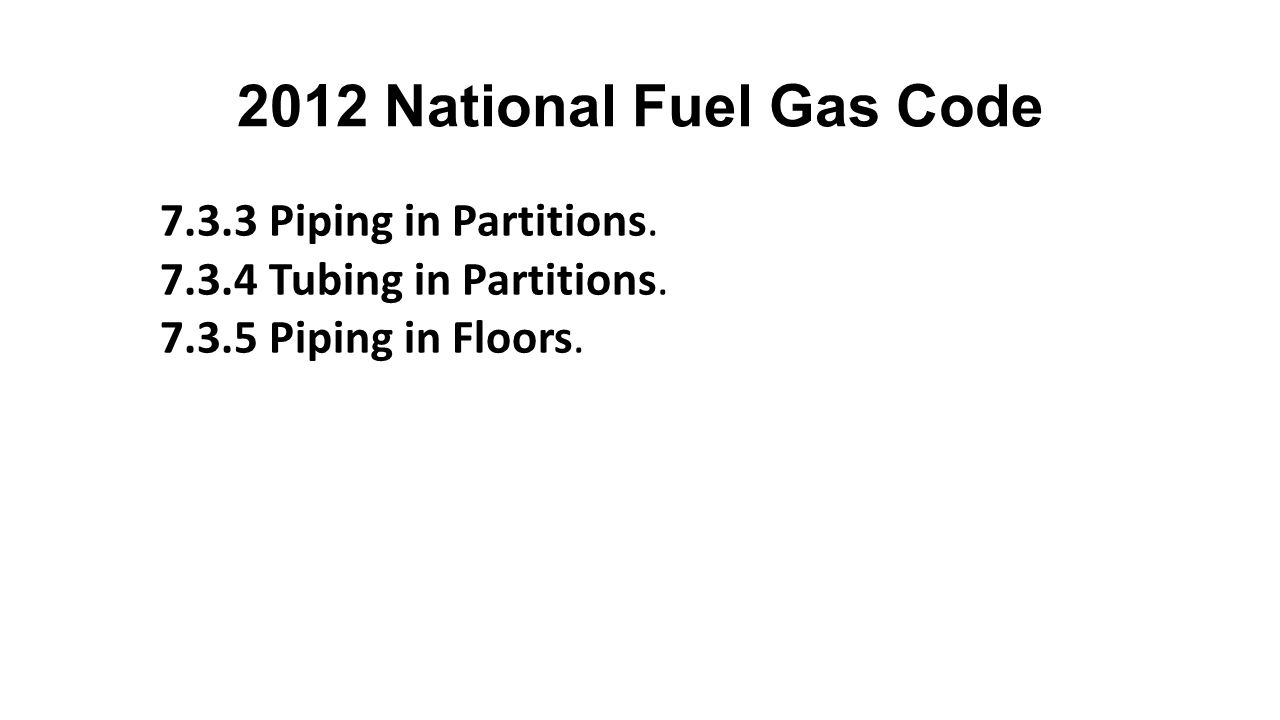 2012 National Fuel Gas Code 7.3.3 Piping in Partitions.