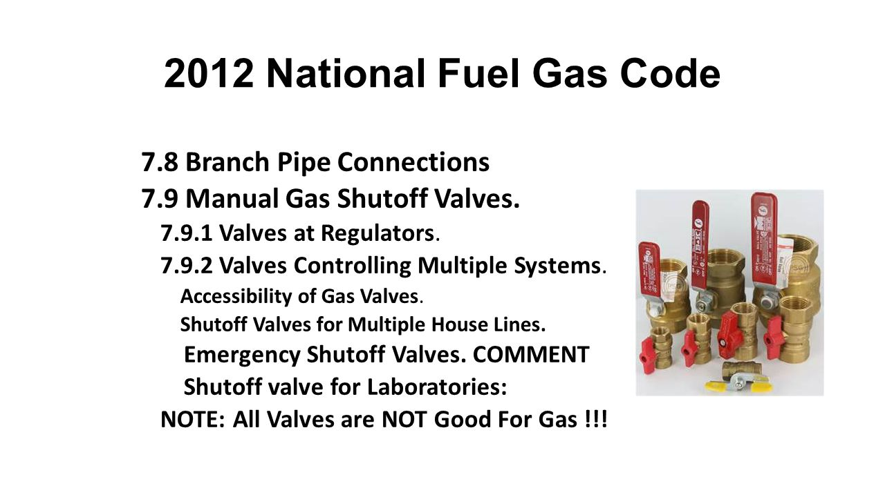 2012 National Fuel Gas Code 7.8 Branch Pipe Connections