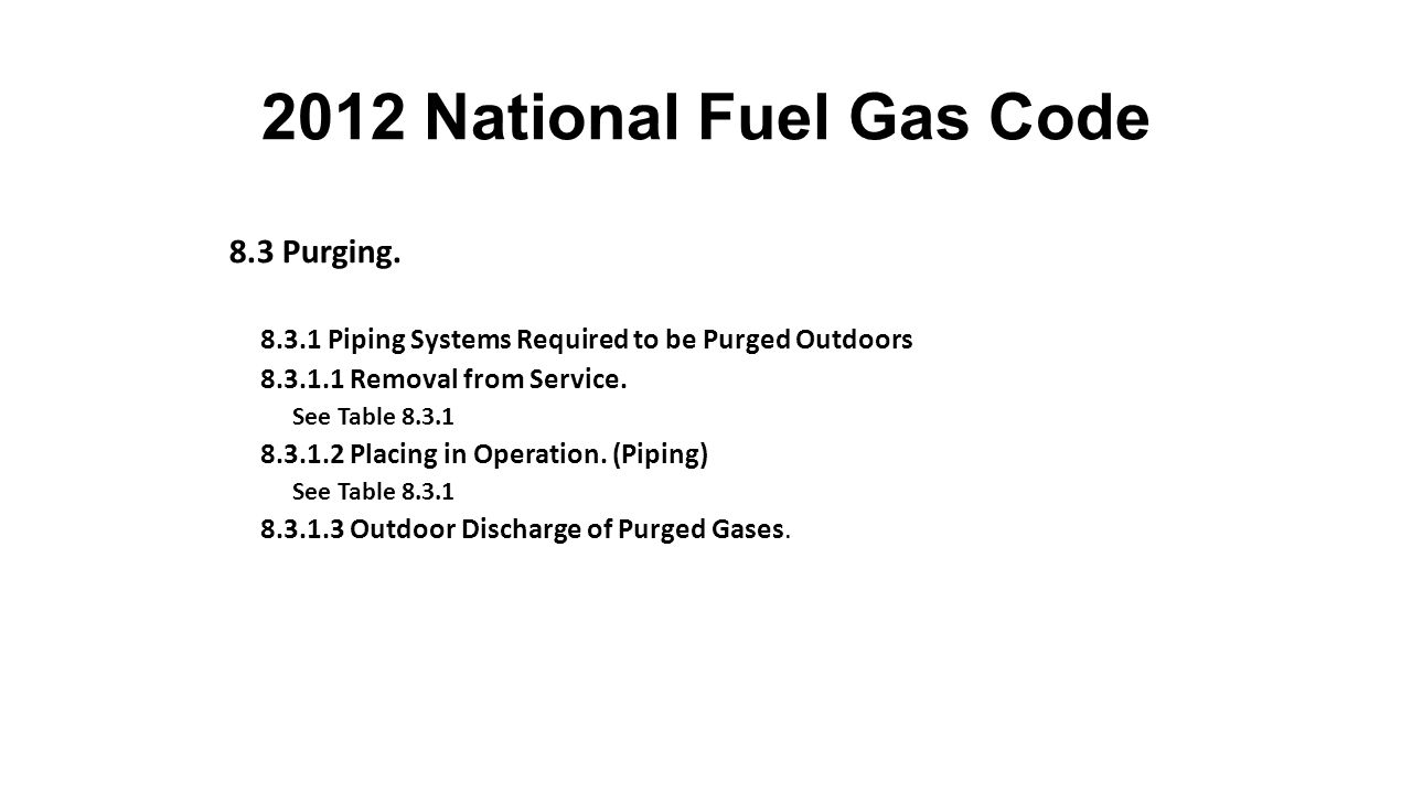 2012 National Fuel Gas Code 8.3 Purging. Section 4.3