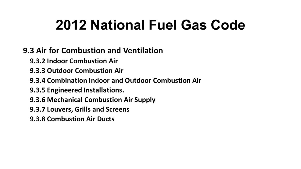2012 National Fuel Gas Code 9.3 Air for Combustion and Ventilation