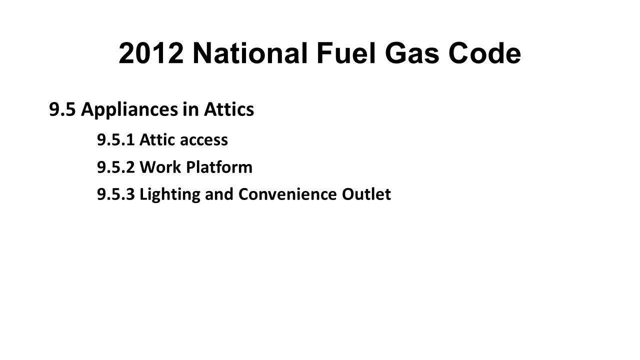 2012 National Fuel Gas Code 9.5 Appliances in Attics