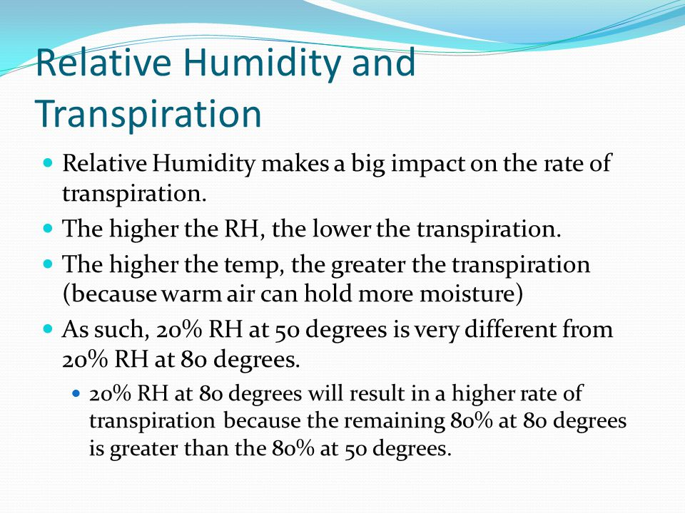 Relative Humidity and Transpiration
