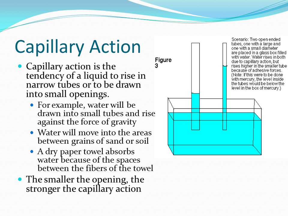 Capillary Action Capillary action is the tendency of a liquid to rise in narrow tubes or to be drawn into small openings.