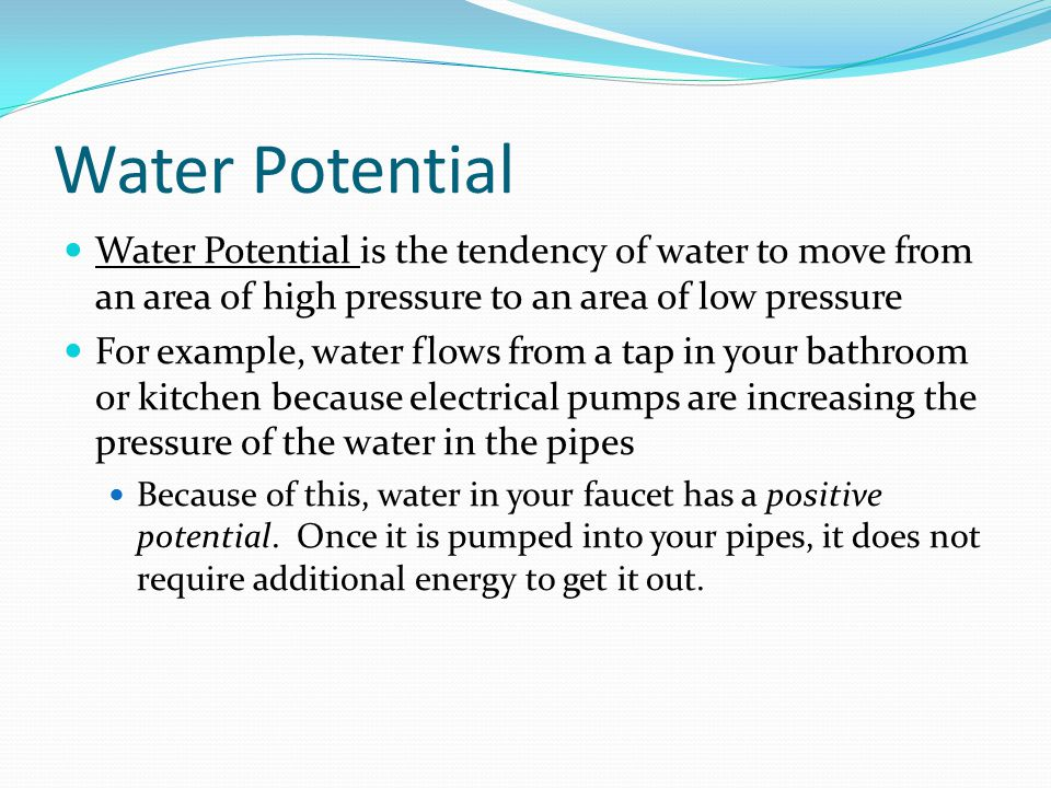 Water Potential Water Potential is the tendency of water to move from an area of high pressure to an area of low pressure.