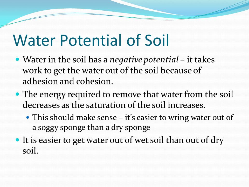 Water Potential of Soil
