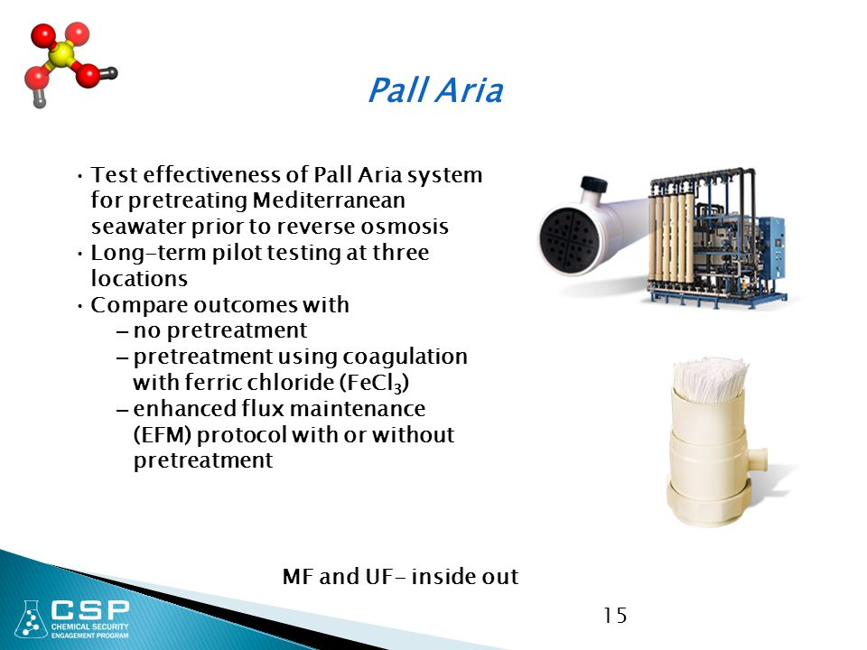 Pall Aria Test effectiveness of Pall Aria system for pretreating Mediterranean seawater prior to reverse osmosis.
