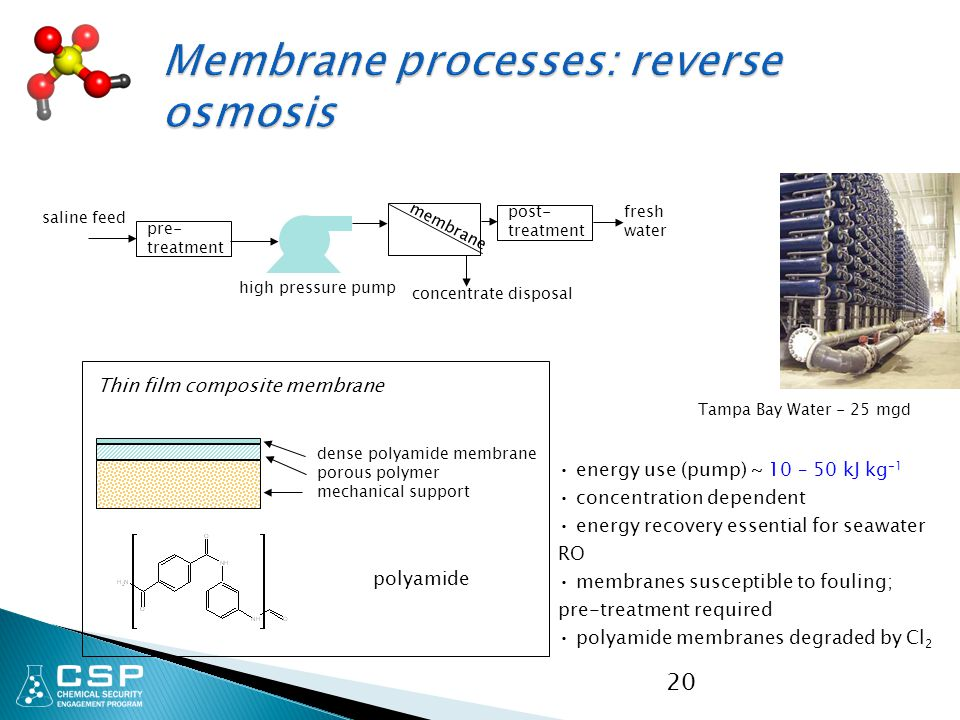 Membrane processes: reverse osmosis