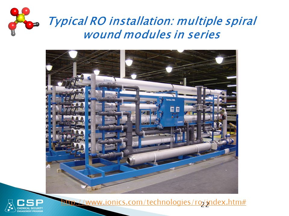 Typical RO installation: multiple spiral wound modules in series