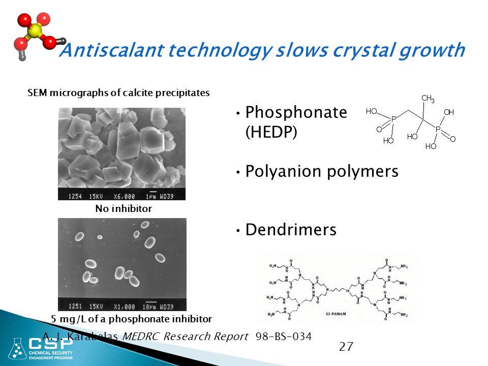 Antiscalant technology slows crystal growth