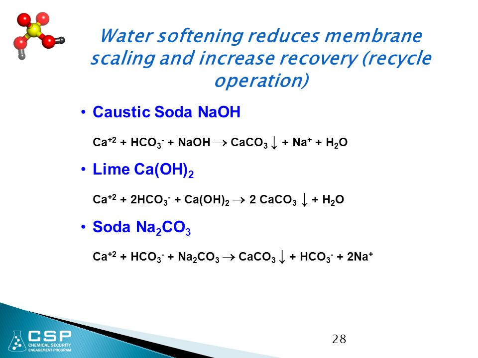 Water softening reduces membrane scaling and increase recovery (recycle operation)