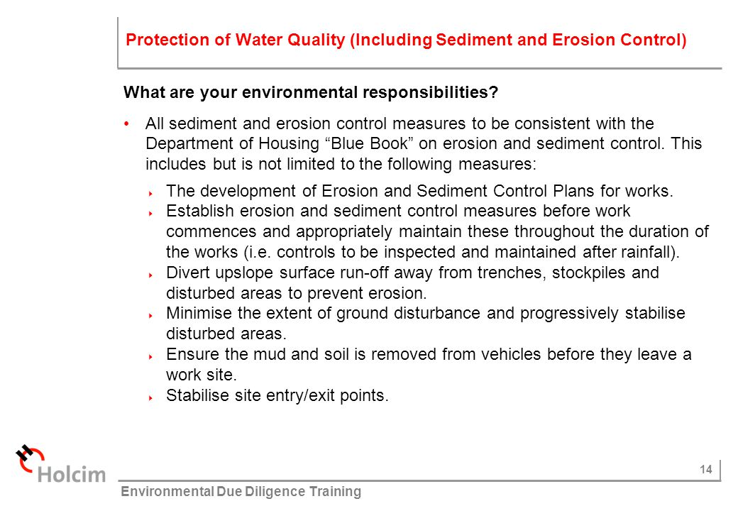 Protection of Water Quality (Including Sediment and Erosion Control)