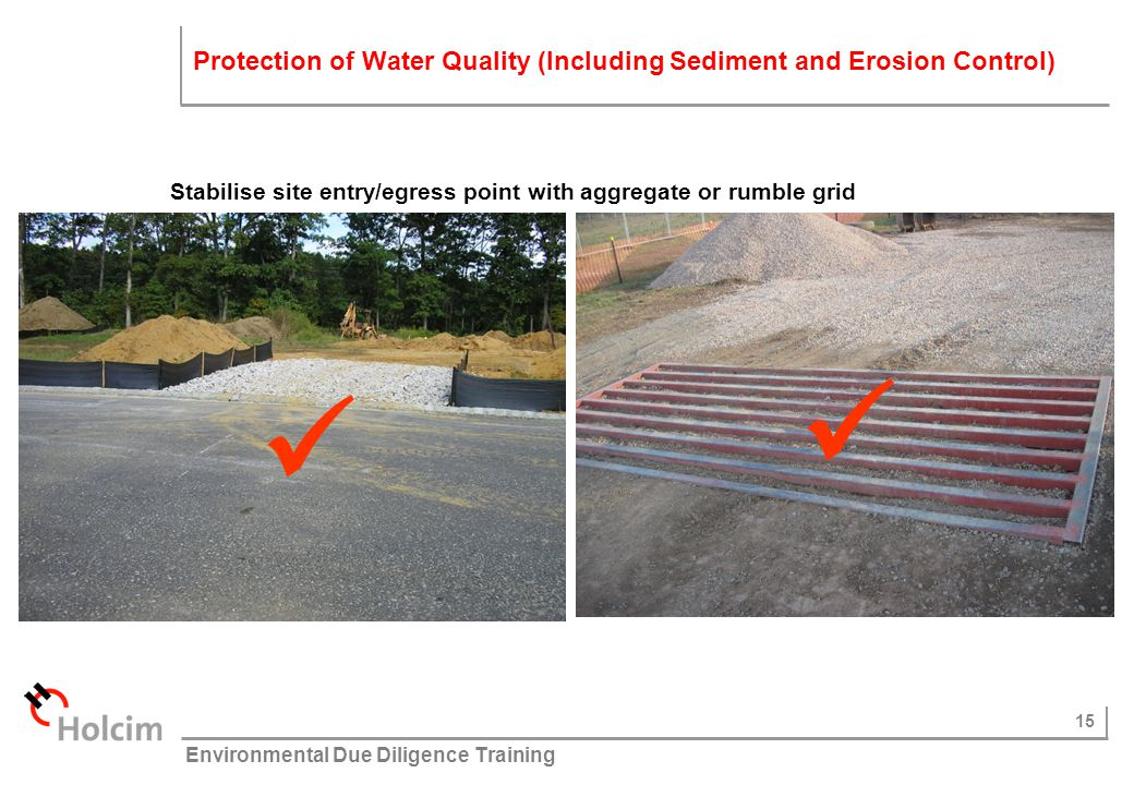 Stabilise site entry/egress point with aggregate or rumble grid