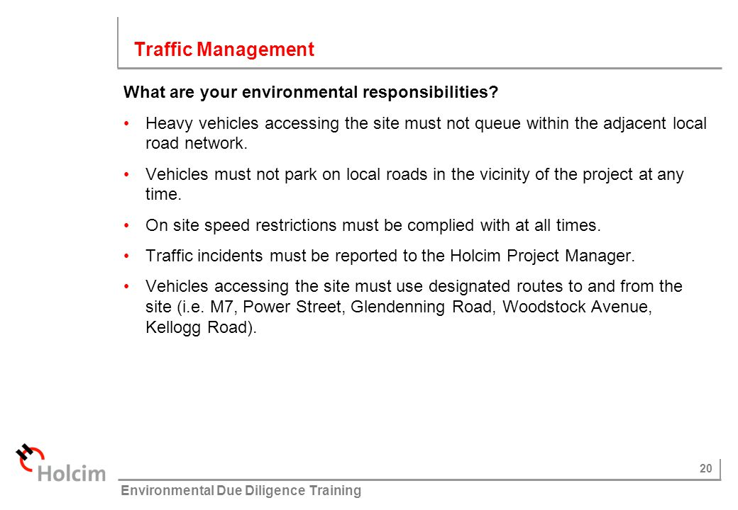 Traffic Management What are your environmental responsibilities