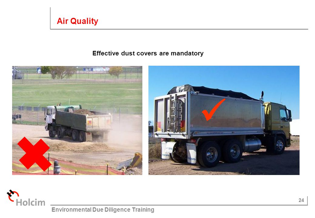 Air Quality Effective dust covers are mandatory 