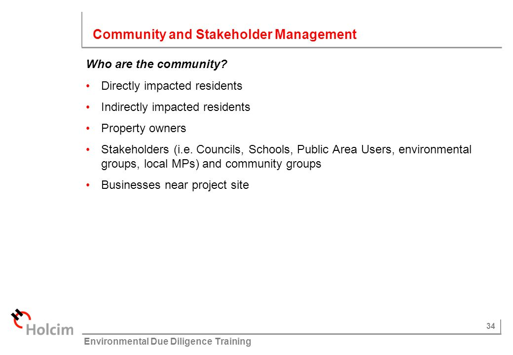 Community and Stakeholder Management