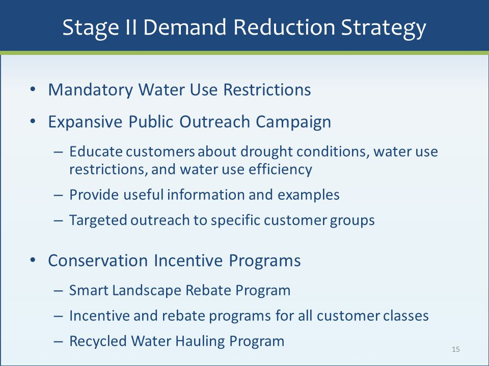 Stage II Demand Reduction Strategy